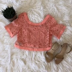BCBGeneration, pink, lace crop top.
